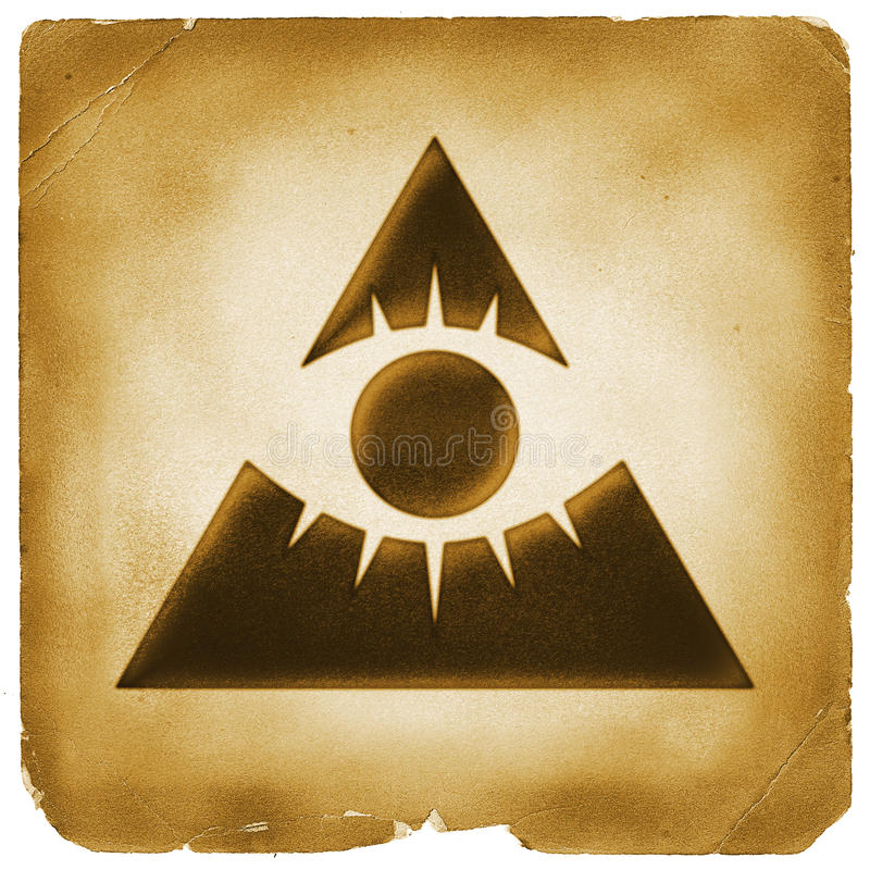 Eye of providence pyramid old paper. All seeing eye. God sign. Mystery symbol marked on weathered papyrus stock illustration