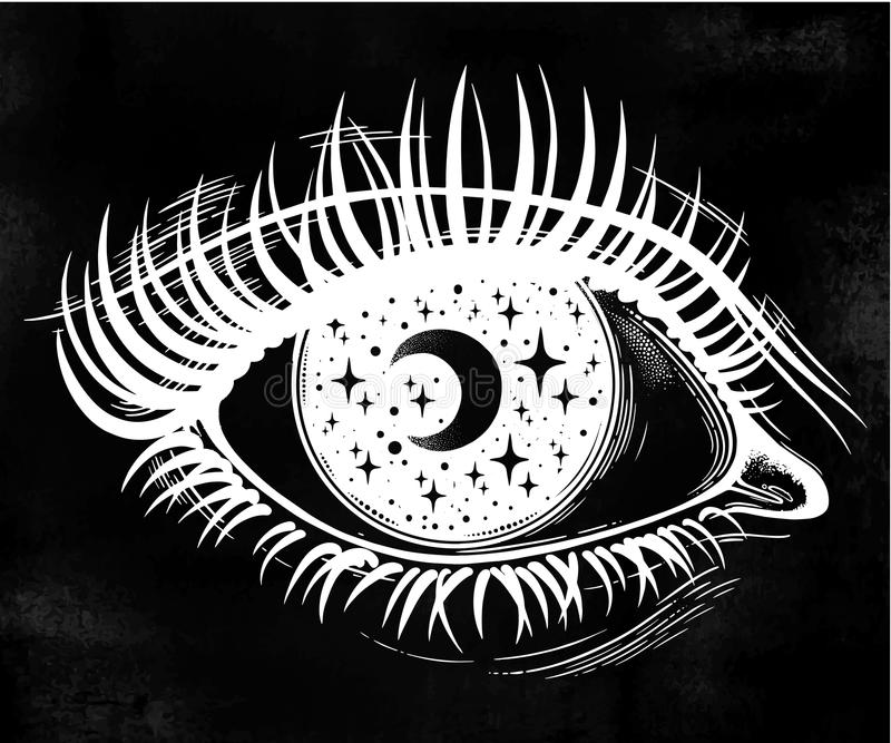 Eye with a pupil as a night starry sky with moon. Beautiful realistic psychedelic eye with a pupil as a starry sky with moon, looking into a night sky. Isolated vector illustration