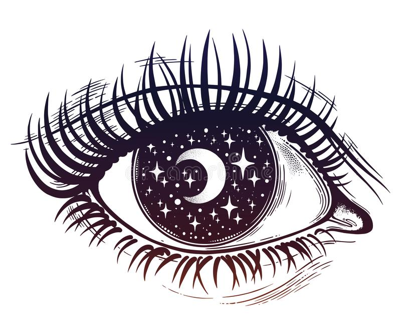 Eye with a pupil as a night starry sky with moon. Beautiful realistic psychedelic eye with a pupil as a starry sky with moon, looking into a night sky. Isolated stock illustration