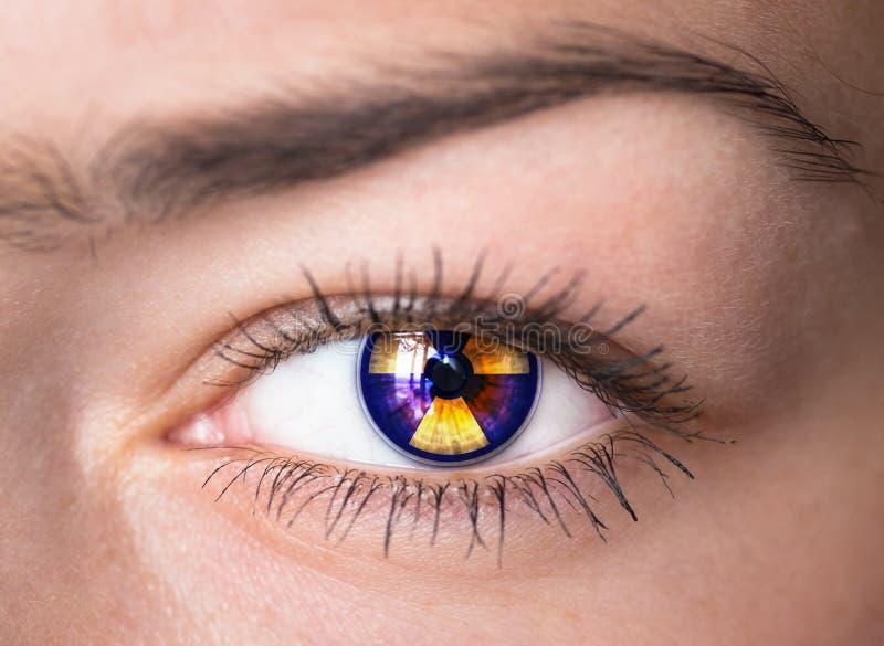 Eye with radiation symbol. stock images