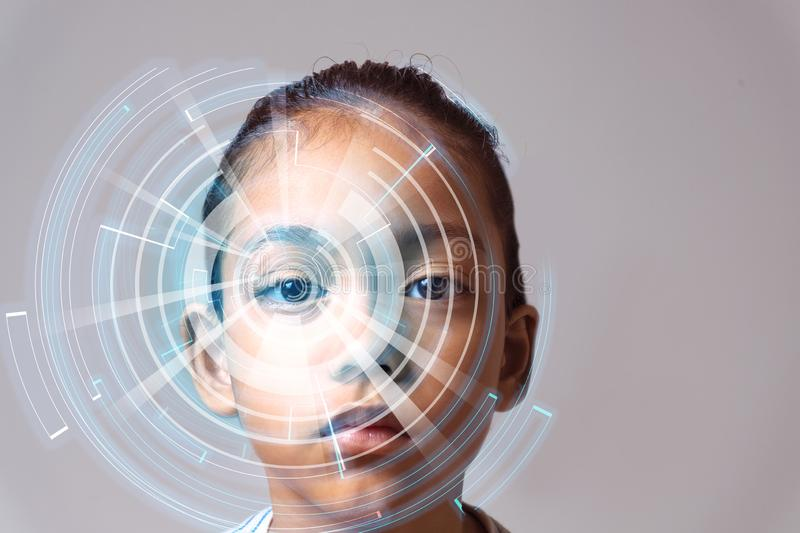 Eye recognition technology. Cyber technology with eye panel. Isolated on Future concept vector illustration