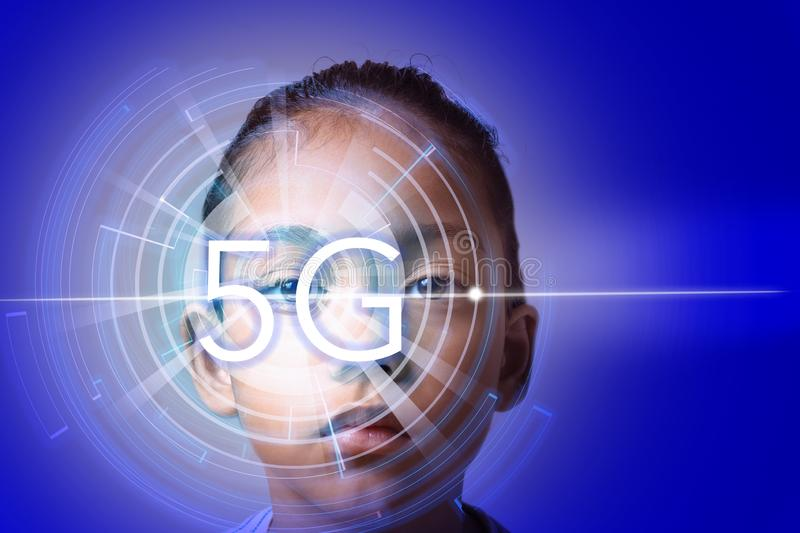 Eye recognition technology on new cyber technology 5G wireless internet wifi connection, isolated on future concept in global royalty free stock images