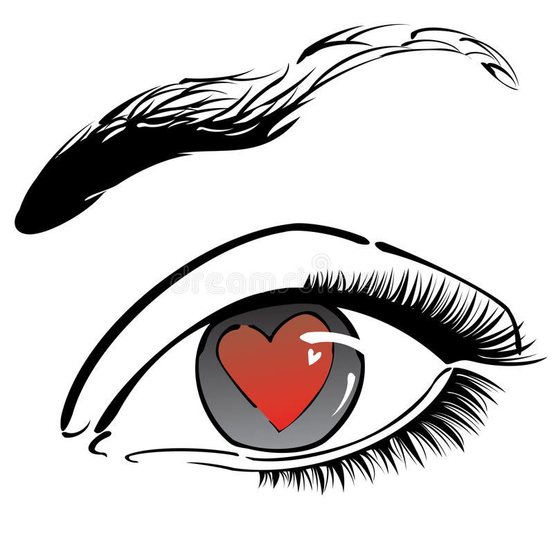 Eye with red heart vector illustration