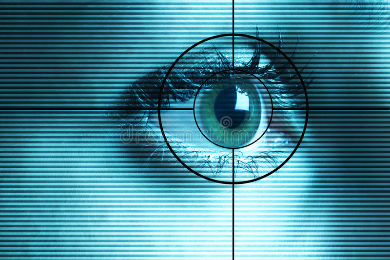 Eye scan. High-tech technology background with targeted eye scan