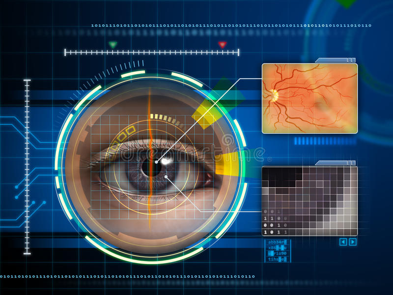 Eye scanner. Human eye being scanned by a futuristic interface. Digital illustration