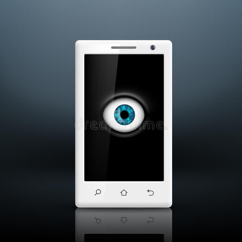 Eye on the screen. Of your smartphone vector illustration
