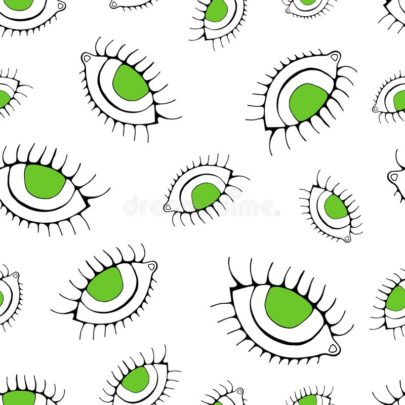 Eye seamless pattern. Vector hand drawn wink, open, eyes with lash background, isolated on white backgraund royalty free illustration