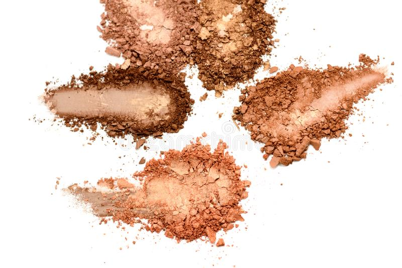 Eye shadow or bronzer neutral brown smudge isolated on white background.  stock photo