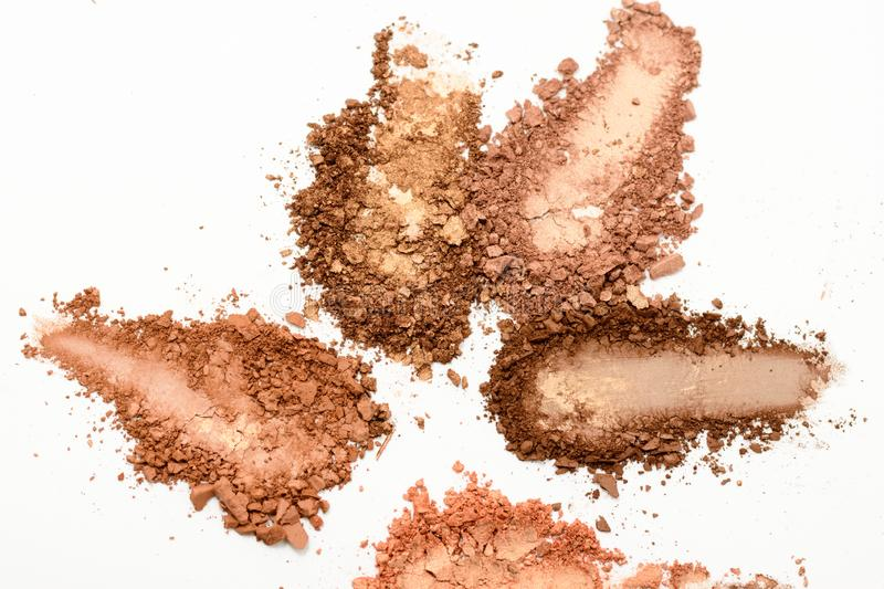 Eye shadow or bronzer neutral brown smudge isolated on white background.  royalty free stock photography