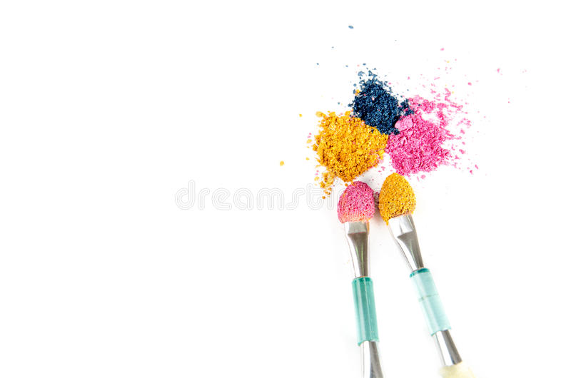 Eye shadow crushed samples isolated on white royalty free stock photography