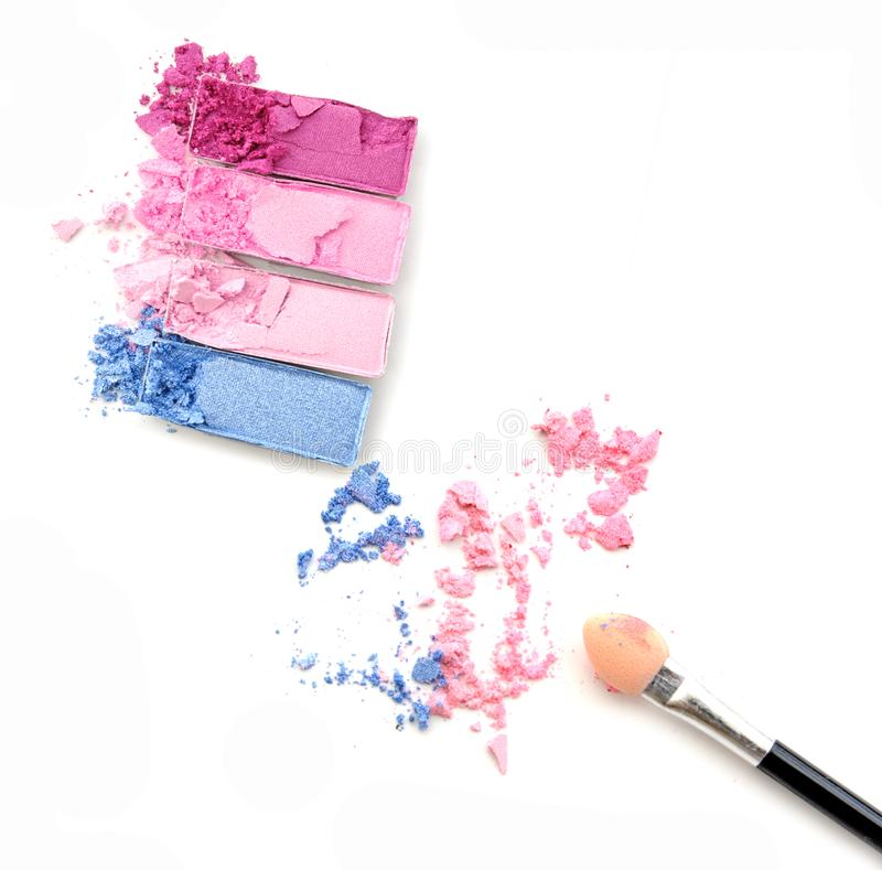Eye shadow palette. Various colors box make up and brush royalty free stock image