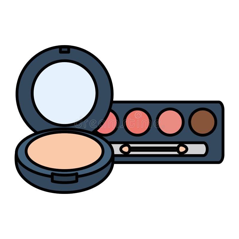 Eye shadows with blush and mirror make up drawing. Vector illustration design royalty free illustration