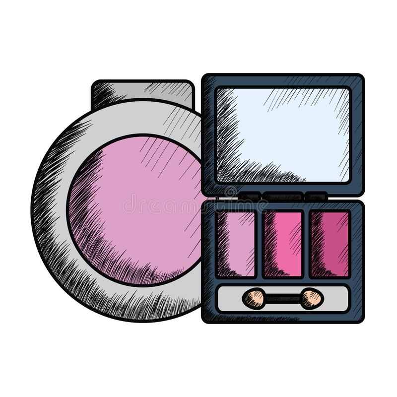 Eye shadows with blush and mirror make up drawing. Vector illustration design stock illustration