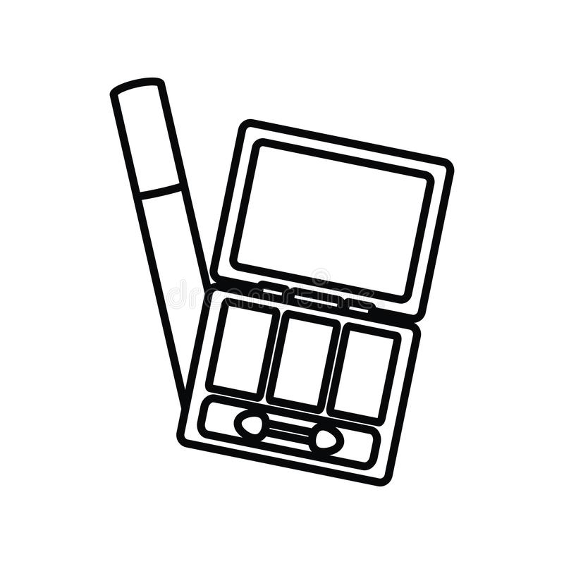 Eye shadows with brush and mirror make up drawing. Vector illustration design royalty free illustration