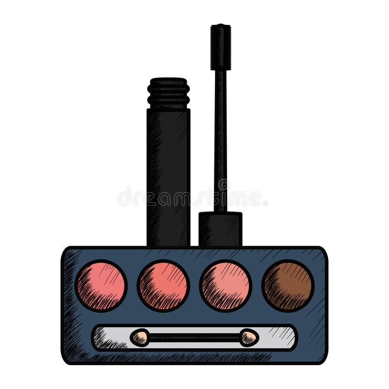 Eye shadows with brush and mirror make up drawing. Vector illustration design vector illustration