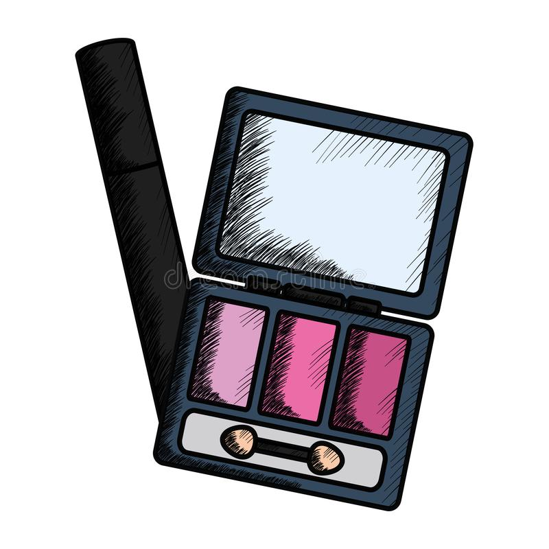 Eye shadows with brush and mirror make up drawing. Vector illustration design stock illustration