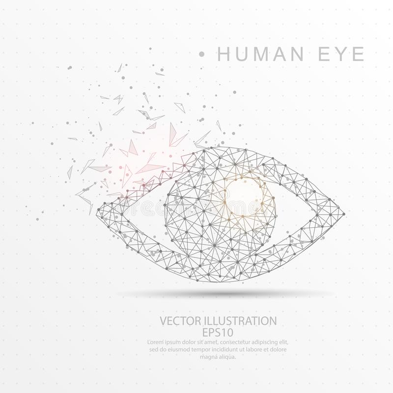 Eye shape digitally drawn low poly wire frame. Eye shape point, line and composition digitally drawn in the form of broken a part triangle shape and scattered stock illustration