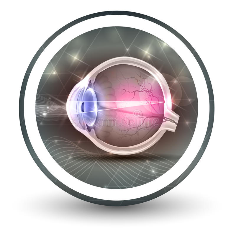 Eye sight round shape icon. Abstract transparent shapes and wave at the background royalty free illustration