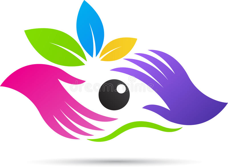 Eye speciality clinic logo. A vector drawing represents eye speciality clinic logo design stock illustration