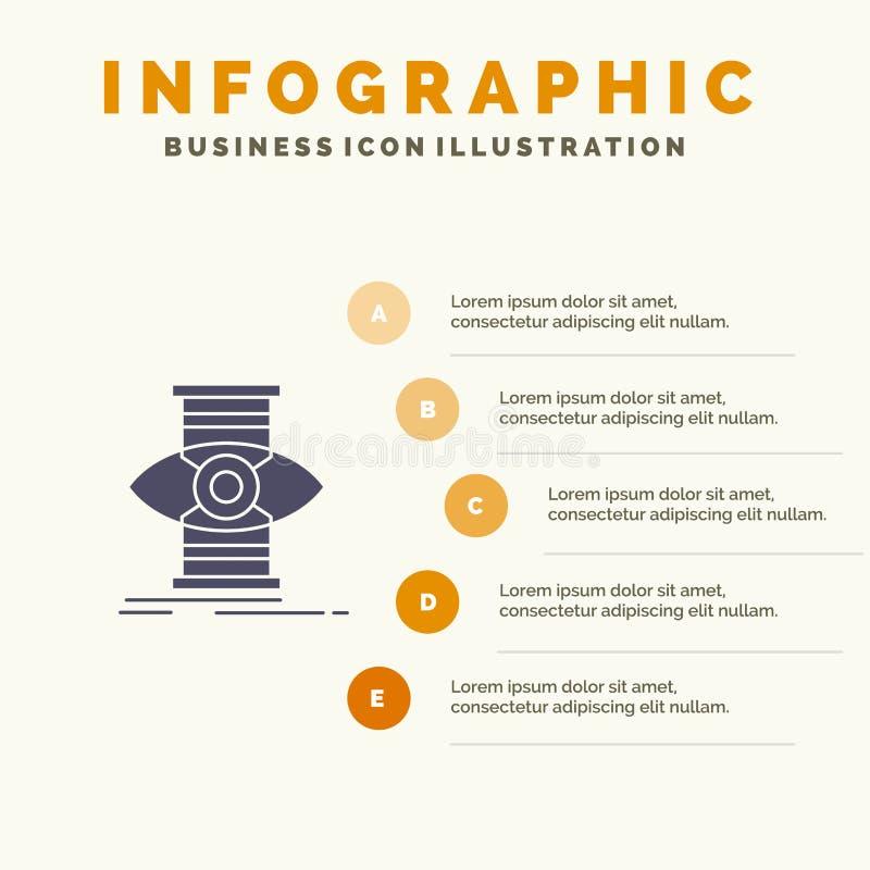 Eye, Success, Focus, Optimize Solid Icon Infographics 5 Steps Presentation Background stock illustration