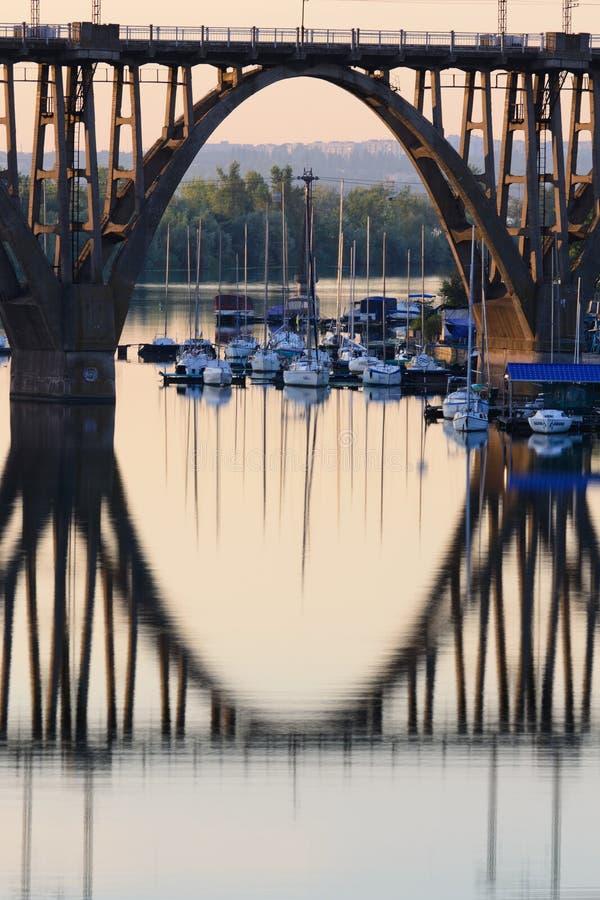 The eye. Summer sunrise on the boat station. Dnepropetrovsk. Ukraine royalty free stock image