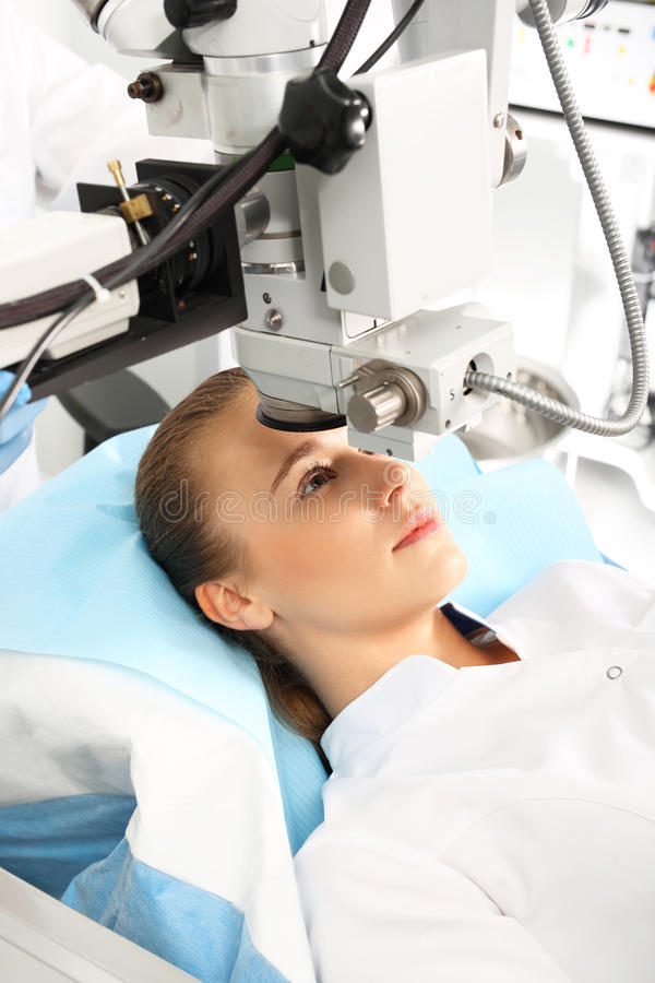 Eye surgery, eye clinic. A patient in the operating room during ophthalmic surgery royalty free stock images
