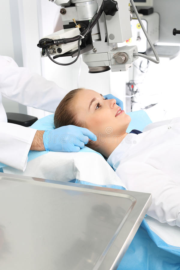 Eye surgery. A patient in the operating room during ophthalmic surgery royalty free stock image
