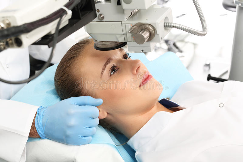 Eye surgery. A patient in the operating room during ophthalmic surgery royalty free stock photos