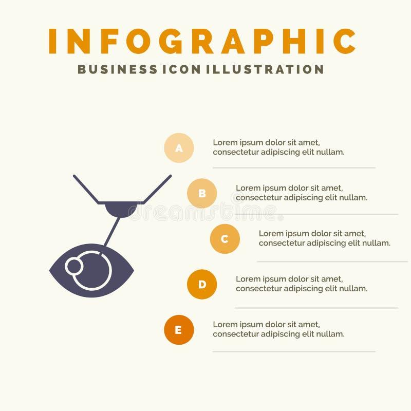 Eye Surgery, Eye Treatment, Laser Surgery, Lasik Solid Icon Infographics 5 Steps Presentation Background stock illustration