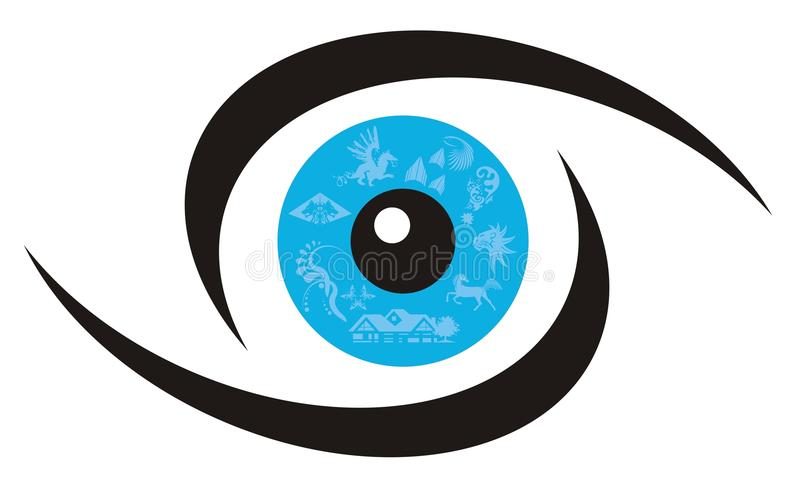 Eye symbol. Vector, unusual symbol of a blue eye stock illustration