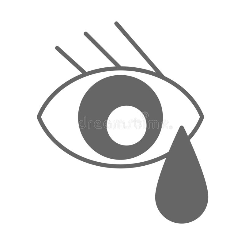Eye with teardrop gray icon. Eye with teardrop gray outline icon vector illustration