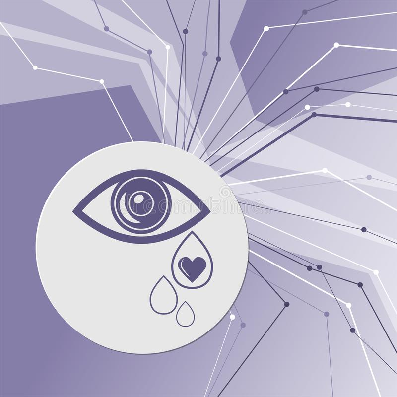 Eye Tears Icon on purple abstract modern background. The lines in all directions. With room for your advertising. royalty free illustration