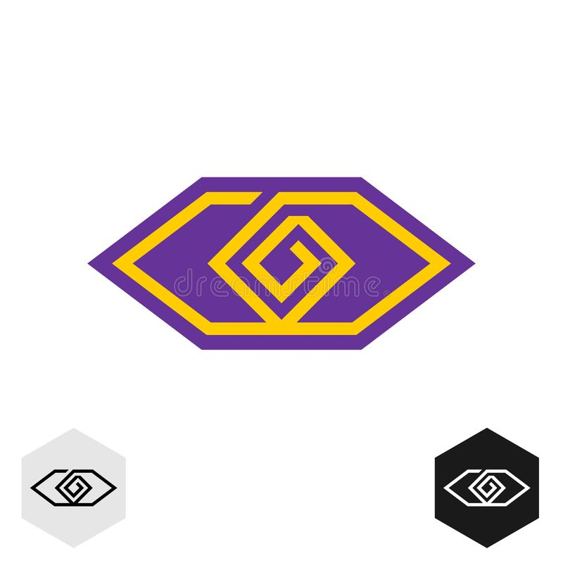 Eye tech cornered logo. Geometric lines technical or tribal eye symbol. royalty free illustration