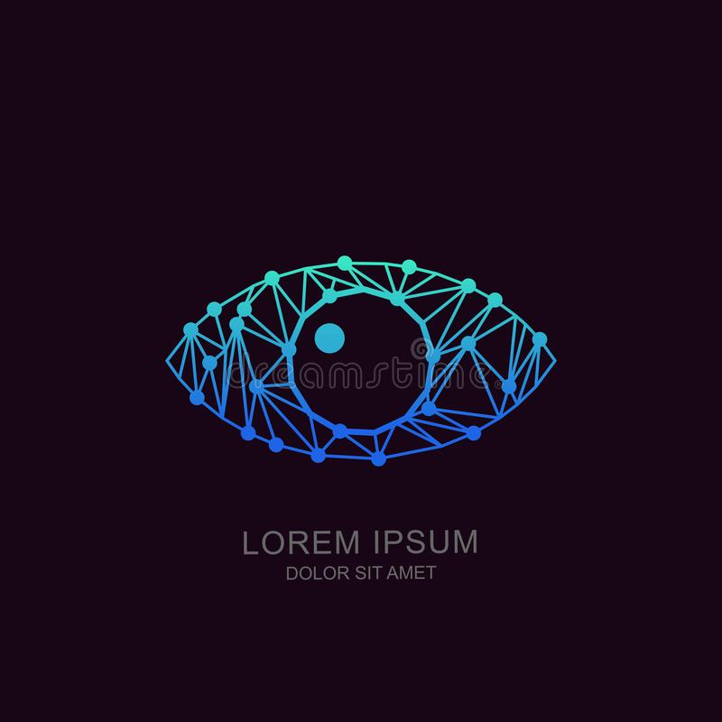 Eye tech logo, sign or emblem design. Concept for biometric recognition, CCTV, retina scan, cyber vision. Human low poly eye, tech logo, sign or emblem design vector illustration