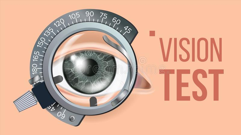 Eye Test Banner Vector. Vision Correction. Optometrist Check. Trail Frame. Exam Illustration. Eye Test Banner Vector. Clinic Consultation. Optometrist Check royalty free illustration