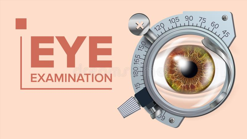 Eye Test Banner Vector. Correction Device. Optometrist Check. Test Illustration. Eye Test Banner Vector. Vision Correction. Optometrist Check. Trail Frame. Exam stock illustration