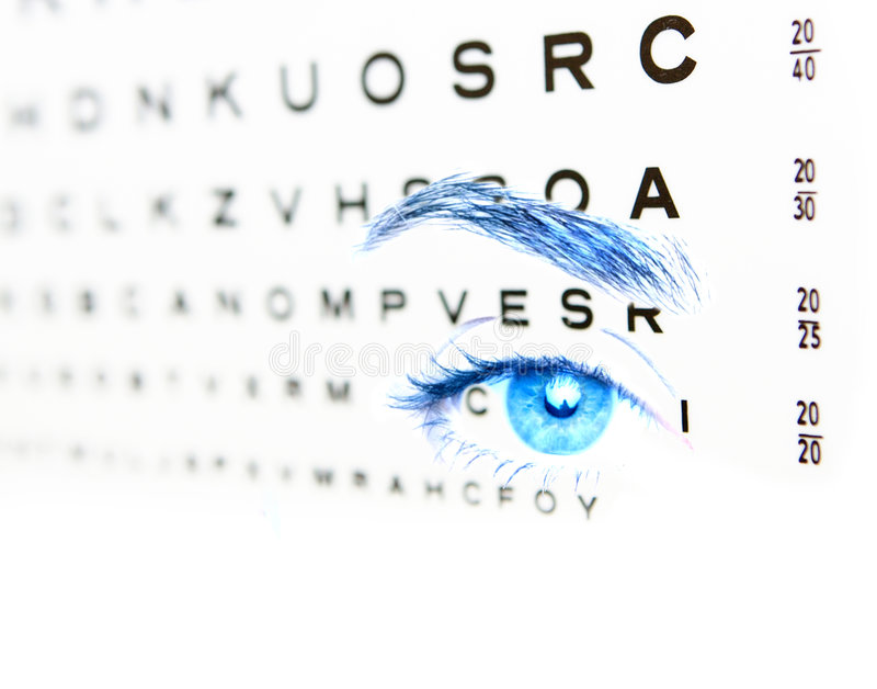 Eye test for blue eyes 20-20 vision stock photography