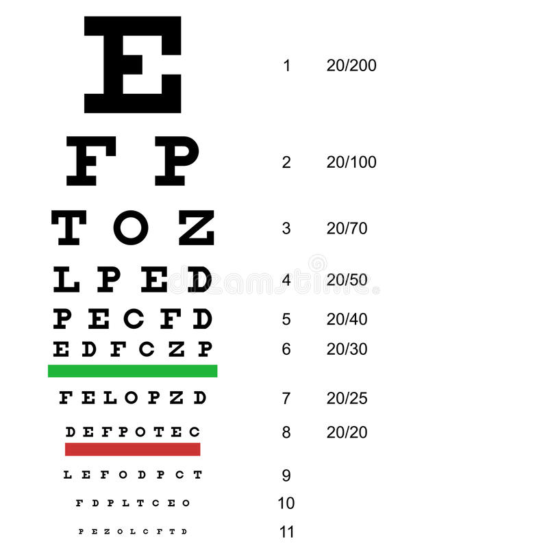 Eye test chart use by doctors. Vector stock illustration