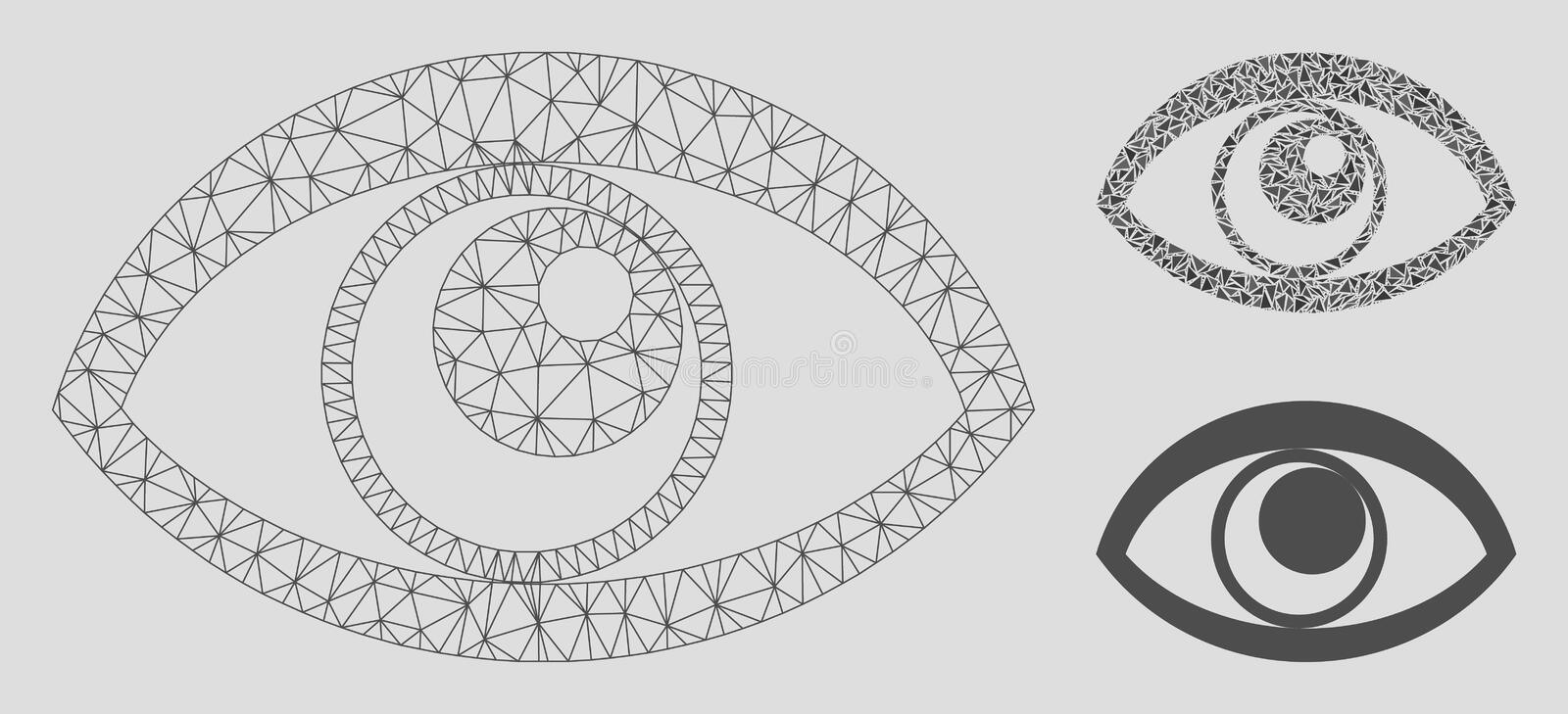 Eye Vector Mesh 2D Model and Triangle Mosaic Icon. Mesh eye model with triangle mosaic icon. Wire frame triangular network of eye. Vector mosaic of triangle royalty free illustration