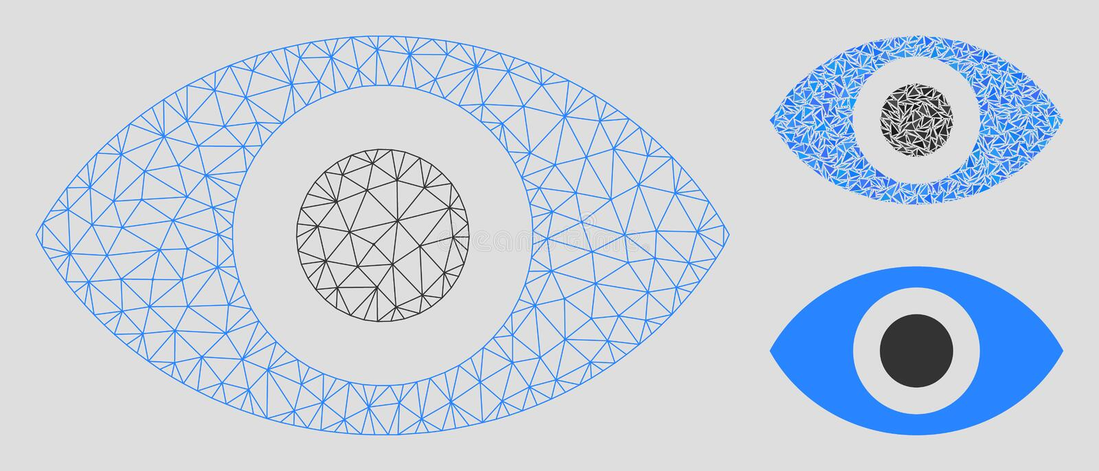 Eye Vector Mesh Wire Frame Model and Triangle Mosaic Icon. Mesh eye model with triangle mosaic icon. Wire carcass polygonal mesh of eye. Vector mosaic of royalty free illustration