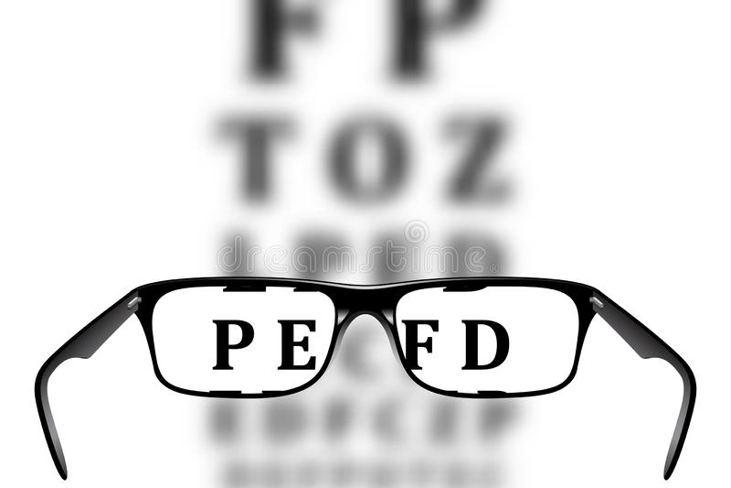 Eye vidros e letras borradas na carta de Snellen ilustração royalty free