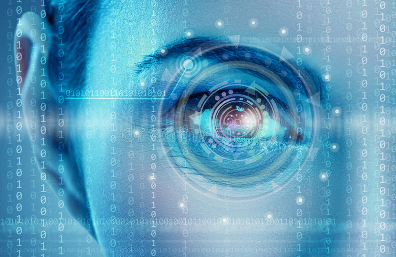 Eye viewing digital information. Represented by circles and signs stock illustration