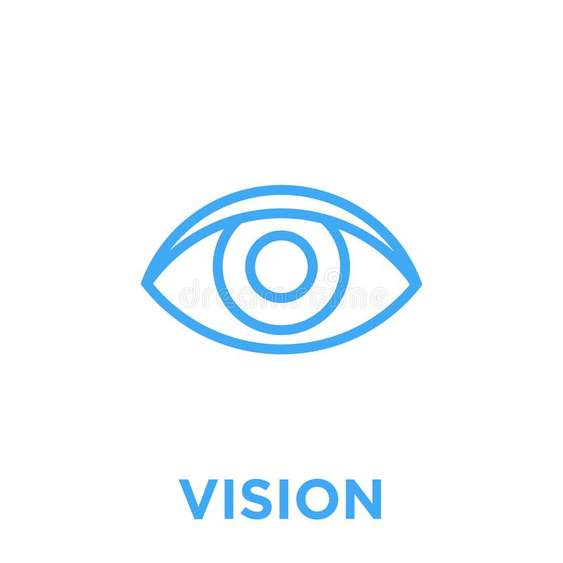 Eye vision icon. Eye icon. Vision symbol. Human sight sign. Blue vector graphic line style illustration isolated on white background stock illustration