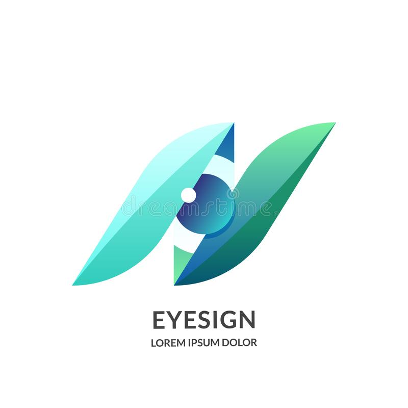 Eye vision logo sign or emblem design template, isolated on white background. Abstract human eyes vector illustration vector illustration
