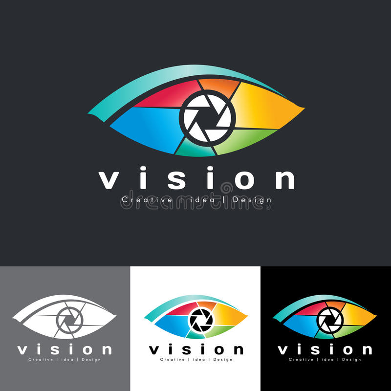Eye vision logo vector - colorful tone is mean vision creative idea and design royalty free illustration