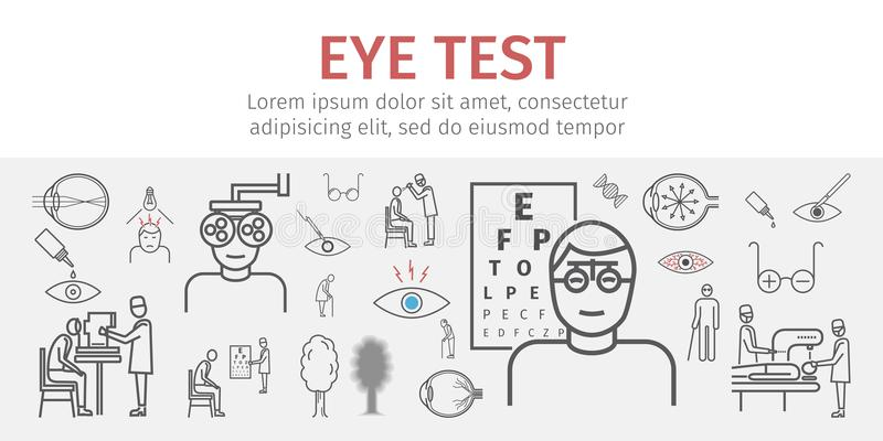 Eye vision test banner. Line icons set. Infographics. Vector signs. For web graphics royalty free illustration