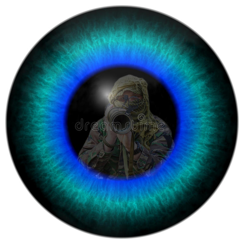 The eye of the war. View of a soldier at war. The fight with the enemy. A detailed look into the eye of the war. The fight against terrorism. Zombie eyes stock image