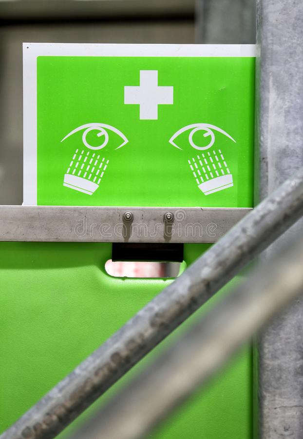 An industrial eye wash station. royalty free stock image