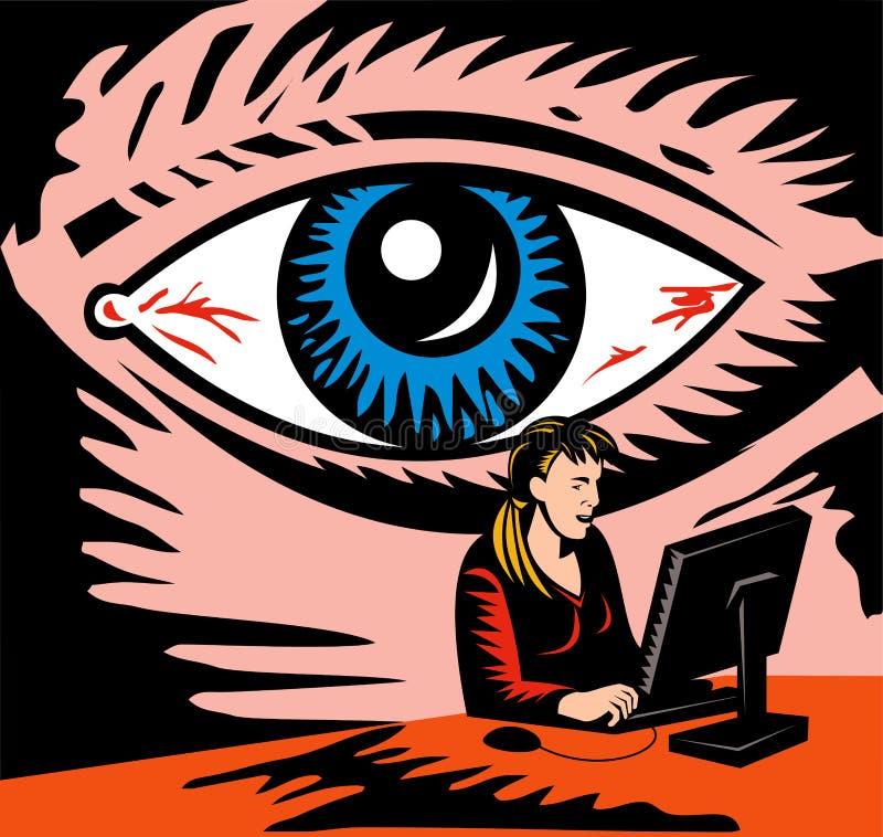 Eye watching computer user vector illustration