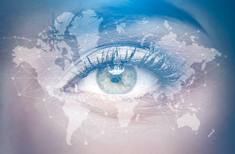 Eye of a woman close up, world map royalty free illustration